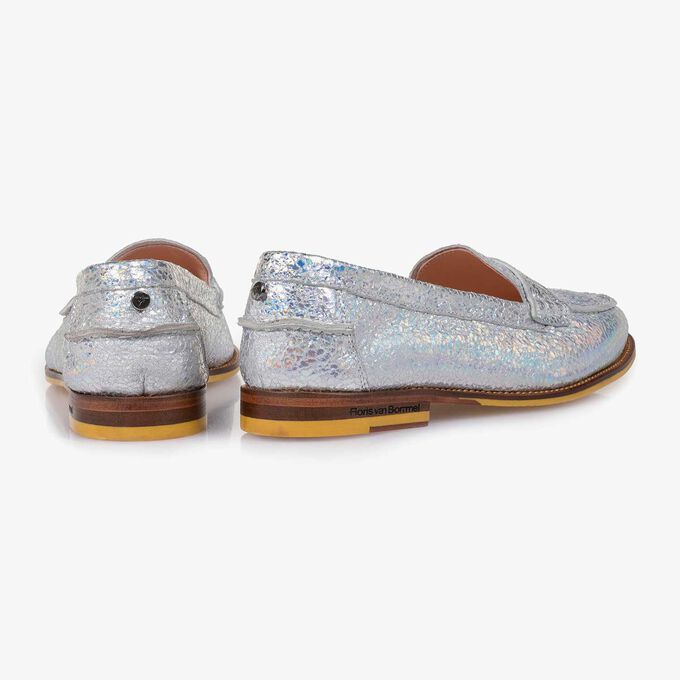 Silver metallic leather loafer with craquelé effect