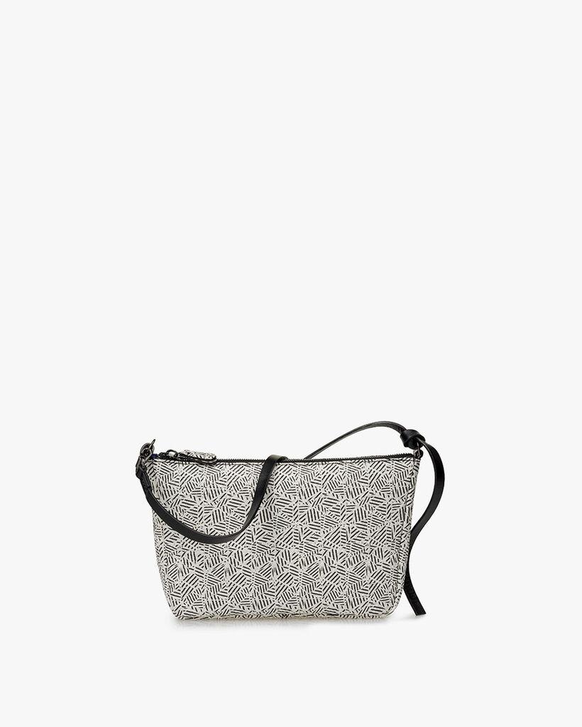 Crossbody-Tasche Leder schwarz-weiß