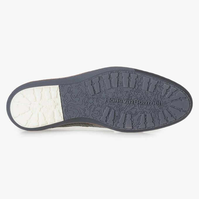 Dunkelgrüner Leder-Schnürschuh mit Print
