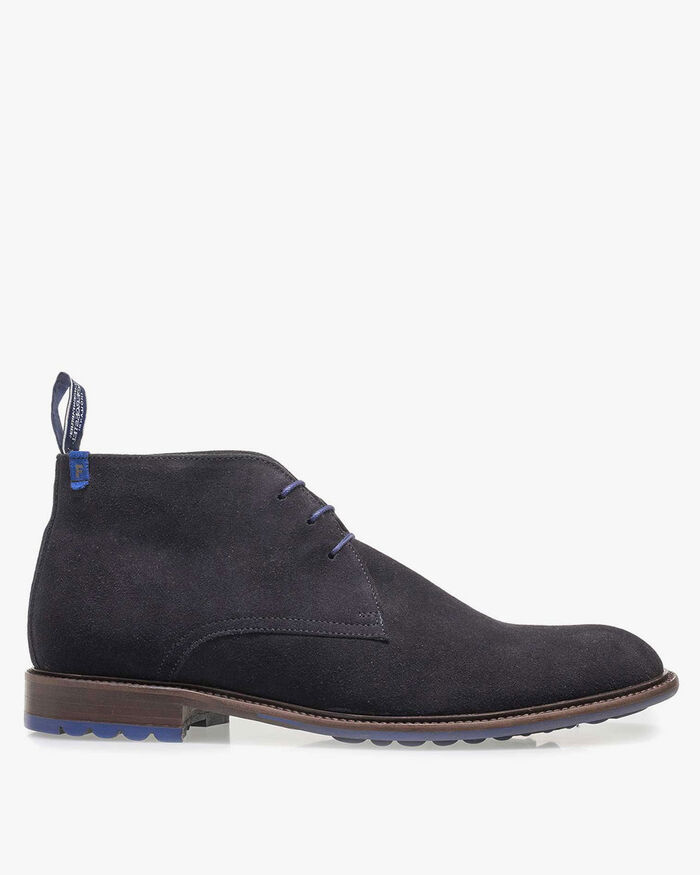 Lace boot suede leather dark blue