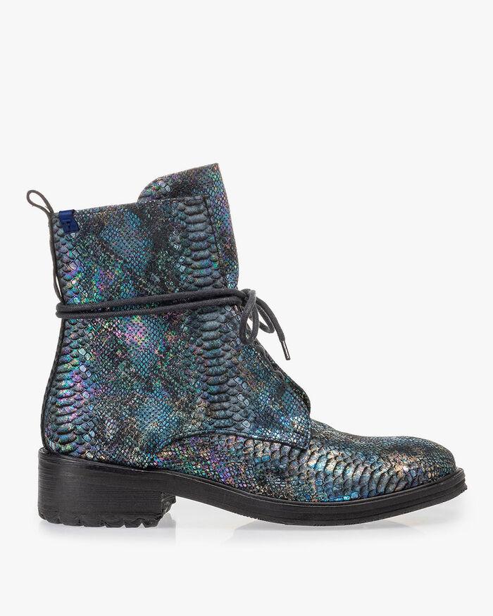 Lace boot snake print multi-colour