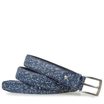 Gürtel Nubukleder mit Print blau