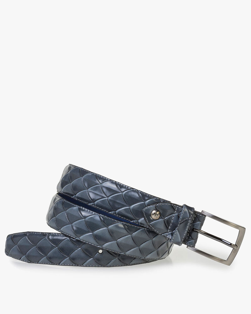 Premium grey leather belt with print