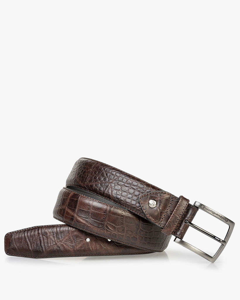 Leather belt croco print brown