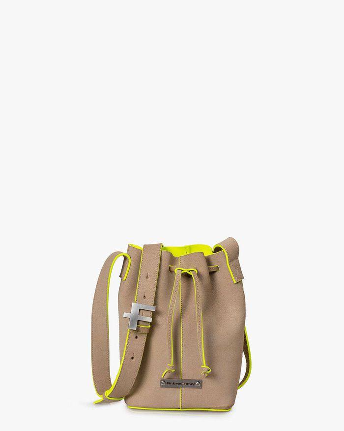 Bucket bag suede leather beige