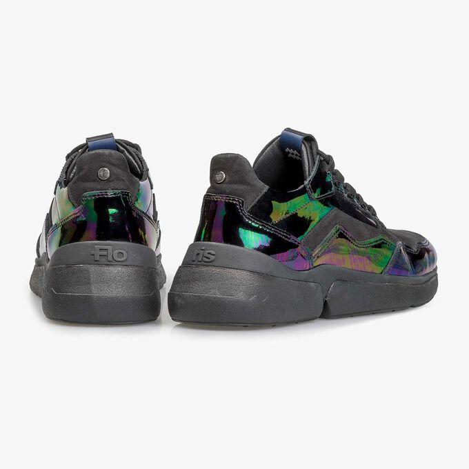 Multi-coloured patent leather sneaker