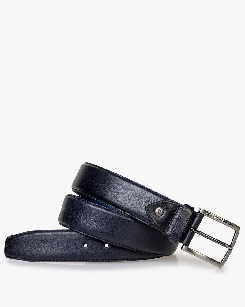 Belt calf leather dark blue
