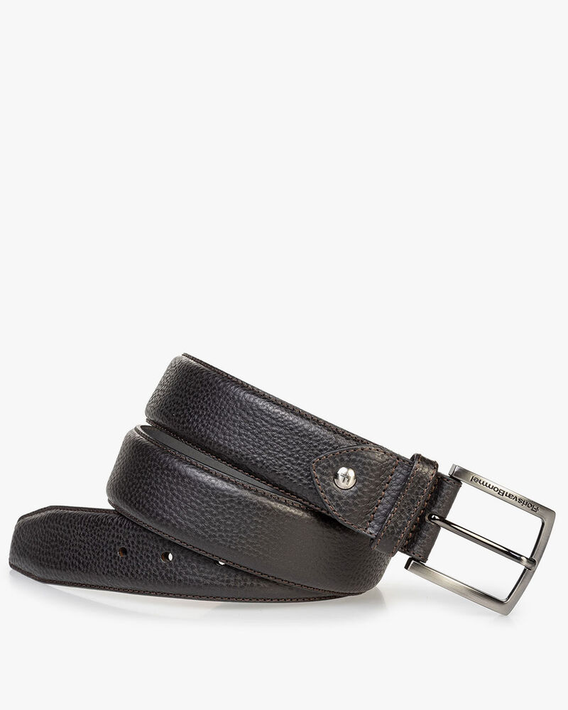 Black leather belt with structured pattern