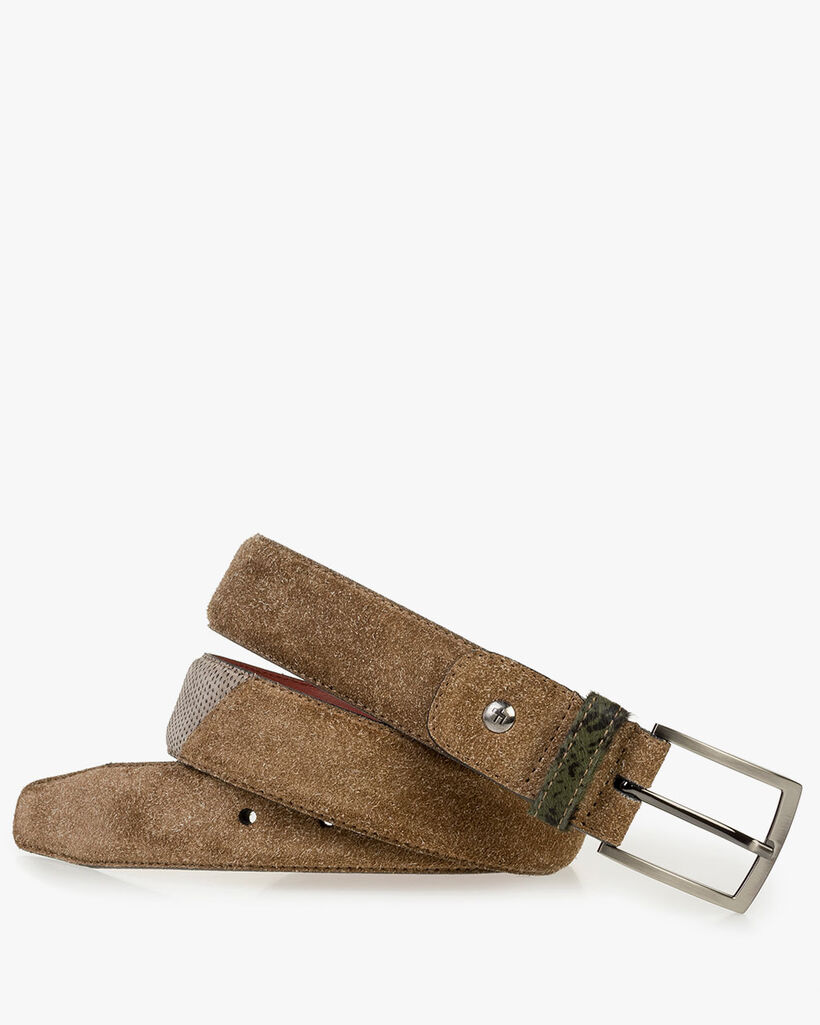 Brown rough suede leather belt