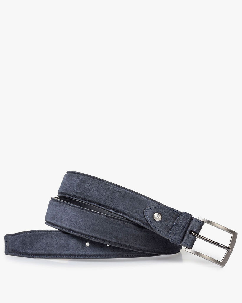 Lightly buffed, blue suede leather belt