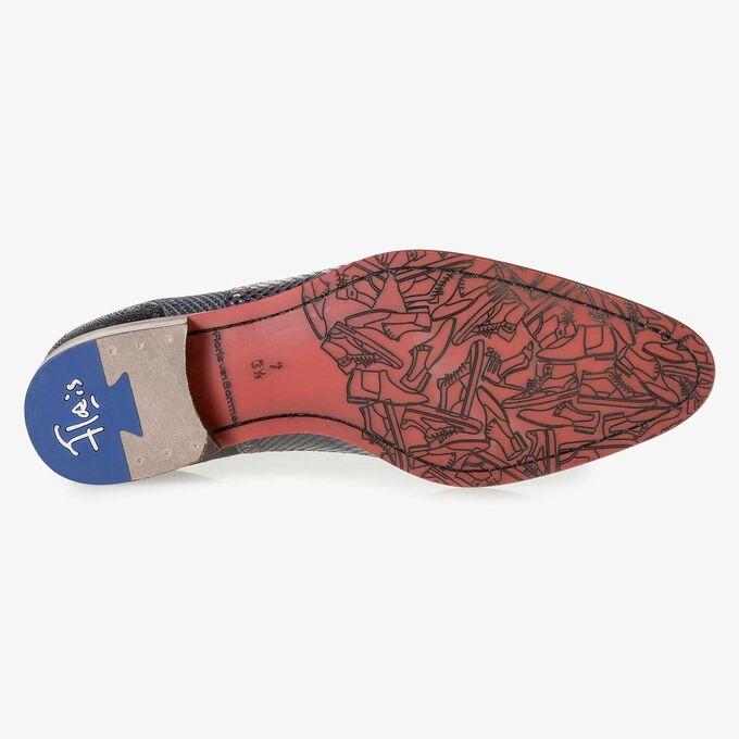 Premium blue calf leather lace shoe with metallic print