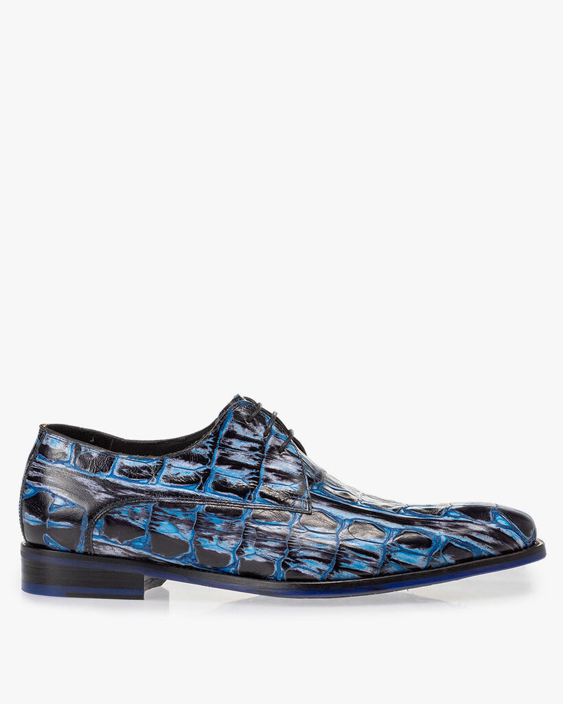 Lace shoe blue croco print