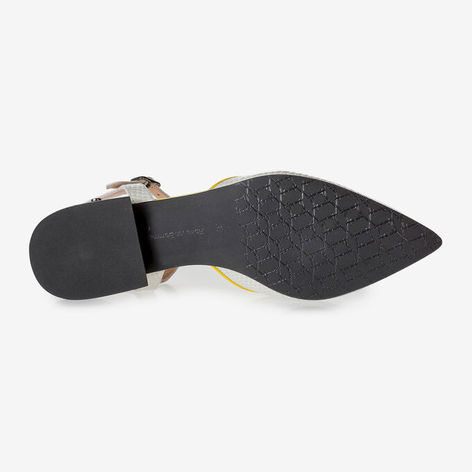 Off-white leather sandals with print