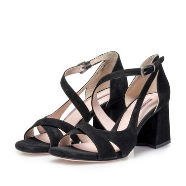 Leather high-heeled sandal