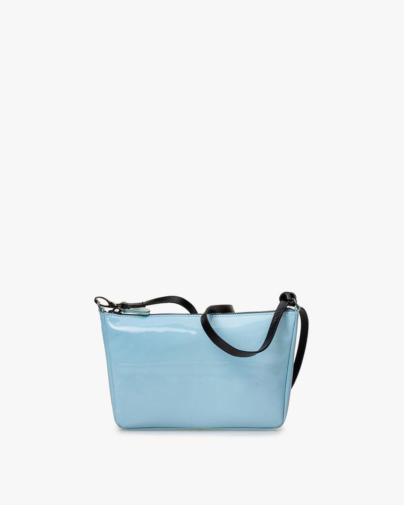 Cross body bag patent leather light blue