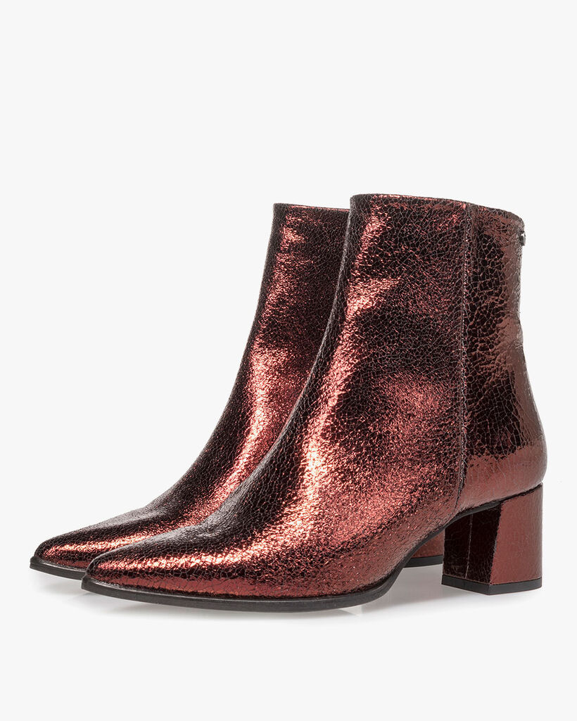 Burgundy red leather ankle boots with metallic print
