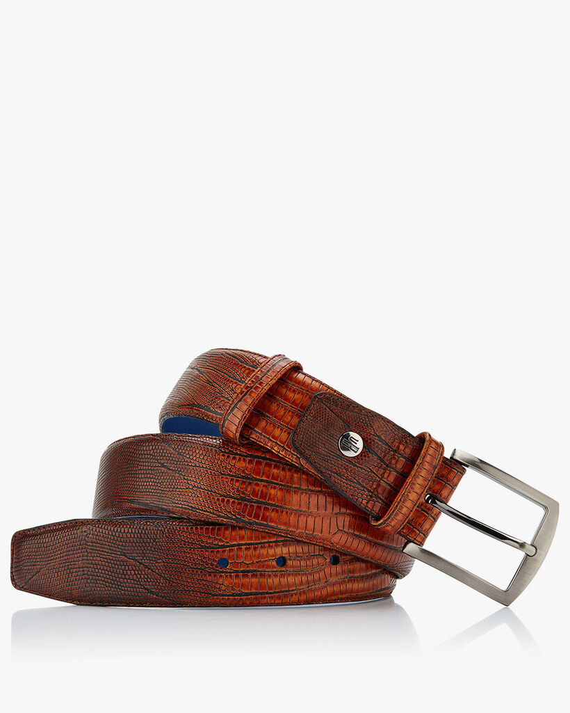 Leather printed belt