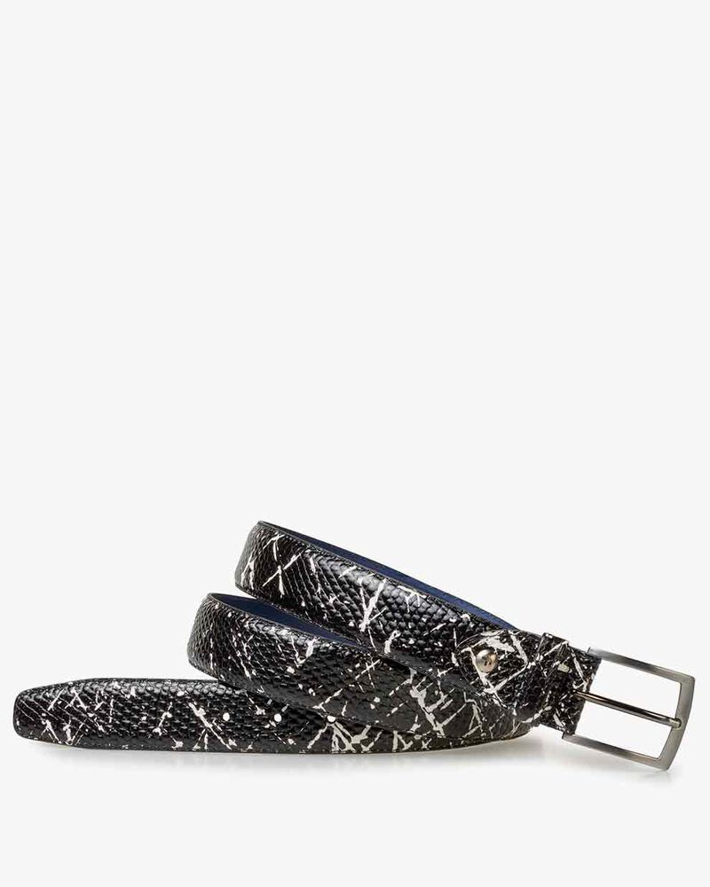 Gürtel Leder mit Print schwarz-weiß