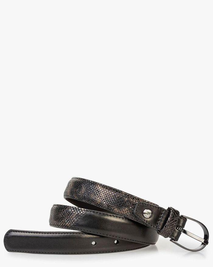 Women's belt croco print copper