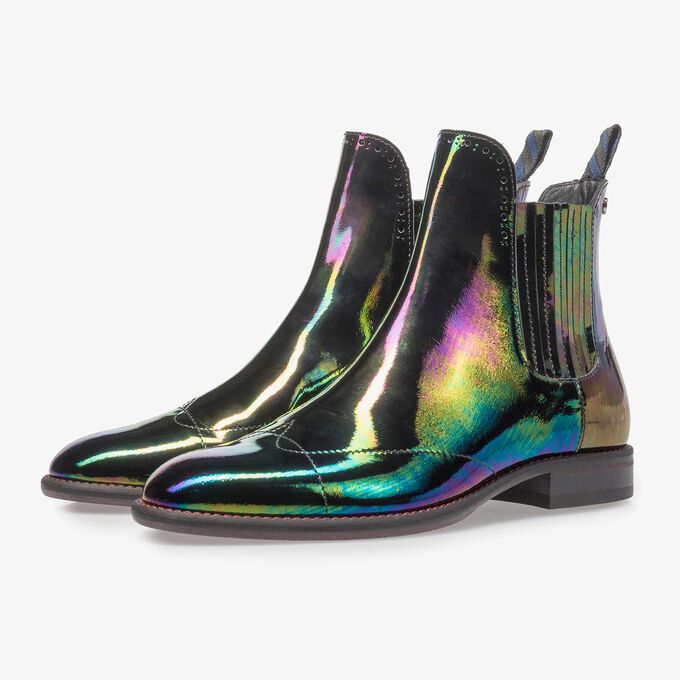 Mehrfarbiger Lackleder Chelsea Boot