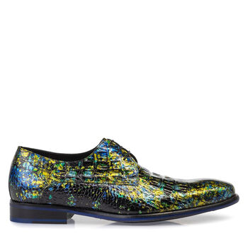 Lace shoe printed leather yellow