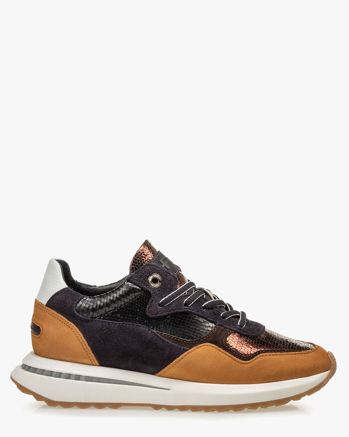 Sneaker metallic print brown