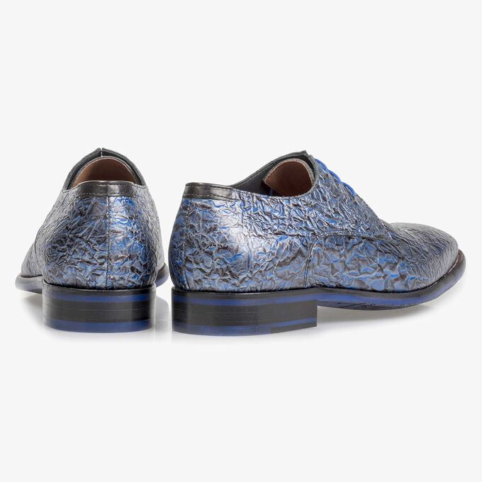 Premium dark blue printed patent leather lace shoe