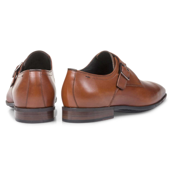 Cognacfarbener Monk-Schnallenschuh aus Kalbsleder
