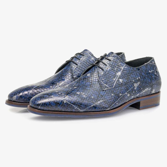 Blue printed calf leather lace shoe