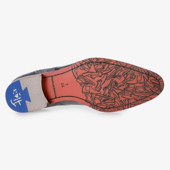 Grau-blauer Schnürschuh mit Print