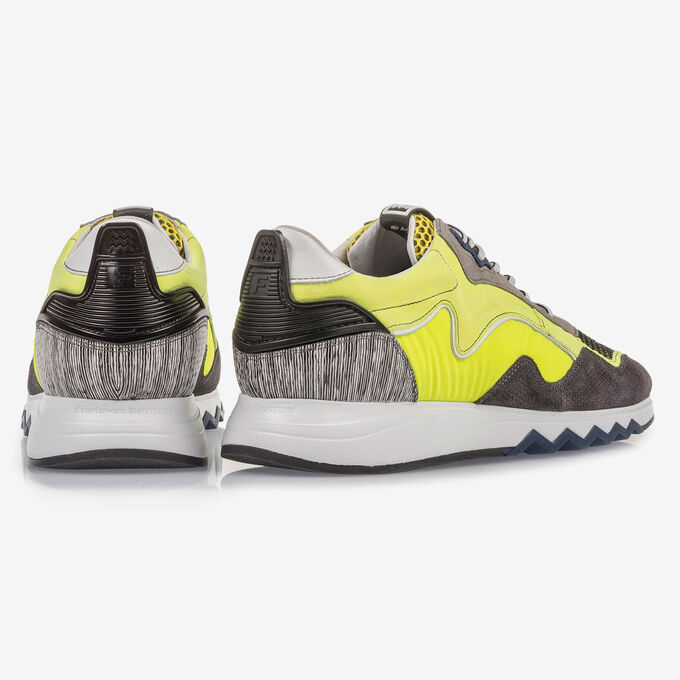 Fluroescent yellow suede leather sneaker