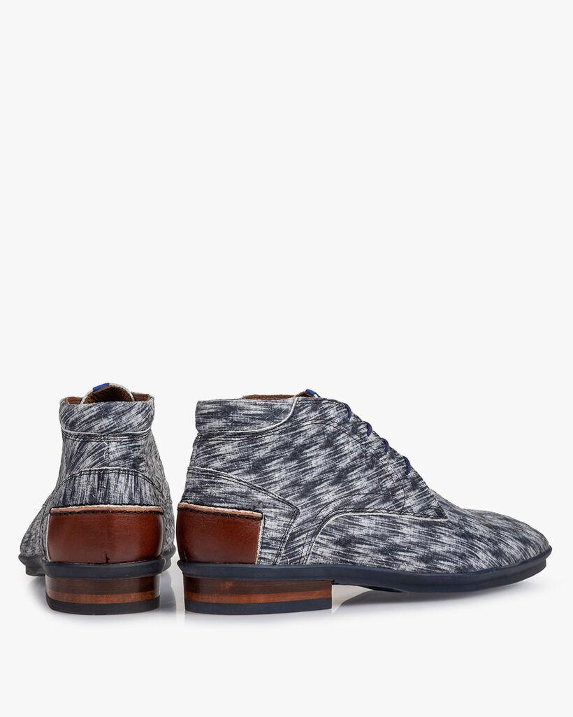 Boot nubuck leather black/white