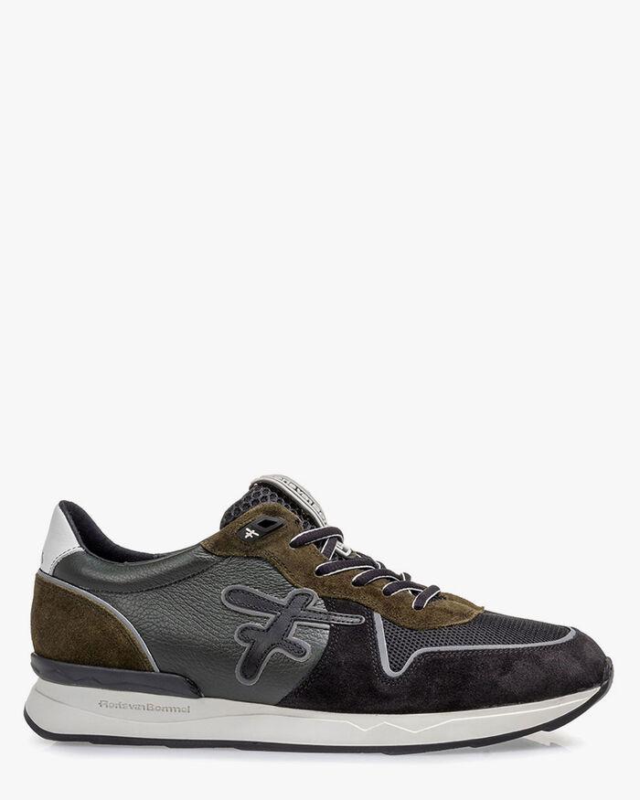 Sneaker suede dark green/black