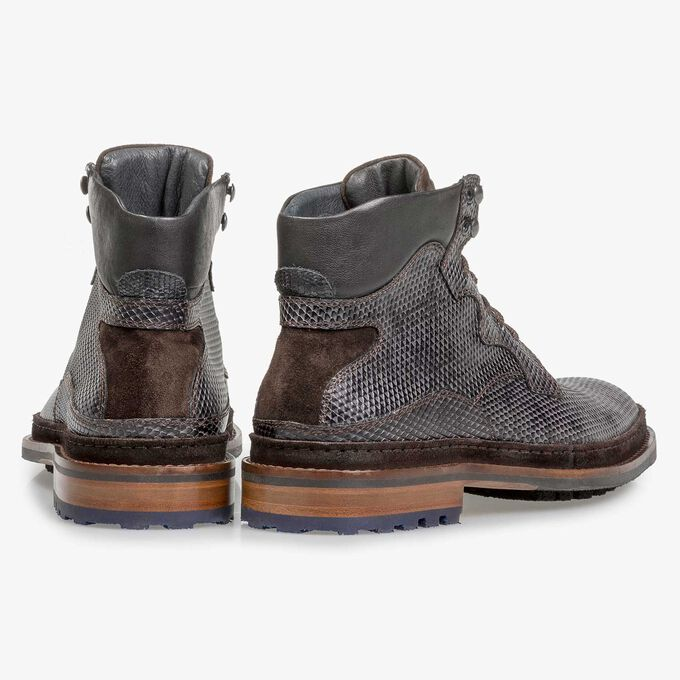 Dark grey leather lace boot with snake print