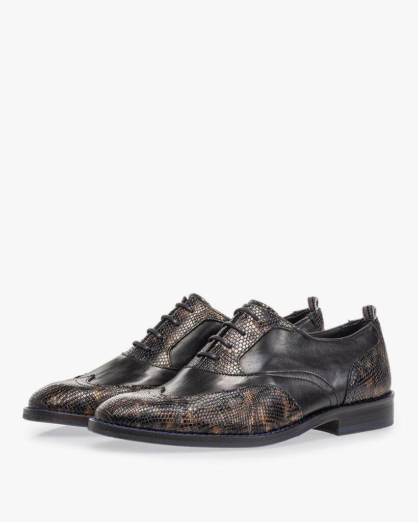 Lace shoe croco print copper