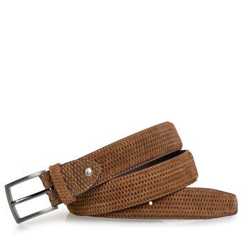 Belt cognac suede leather