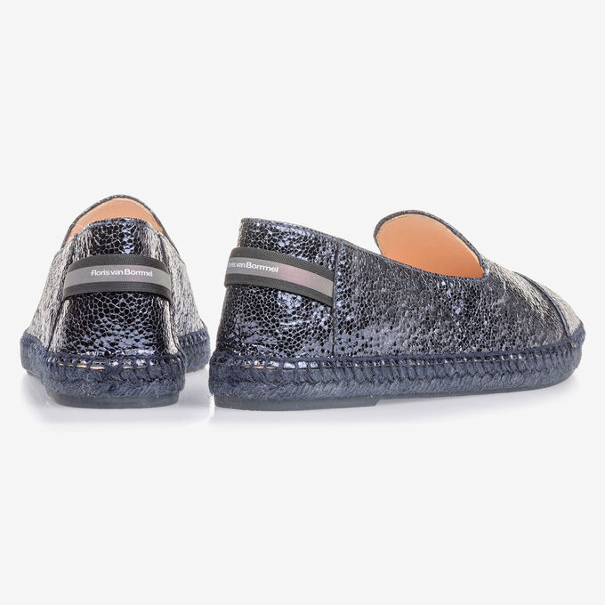 Dark blue leather espadrilles with metallic print