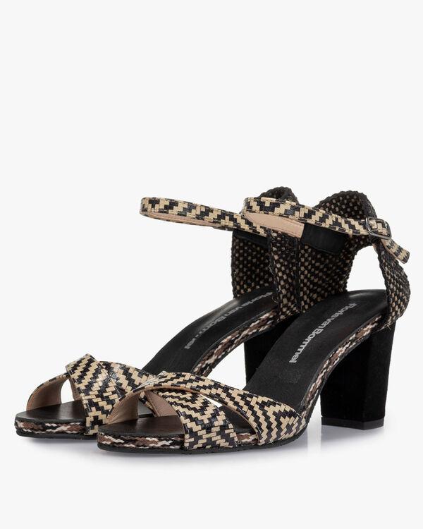 Sandal printed leather black & white