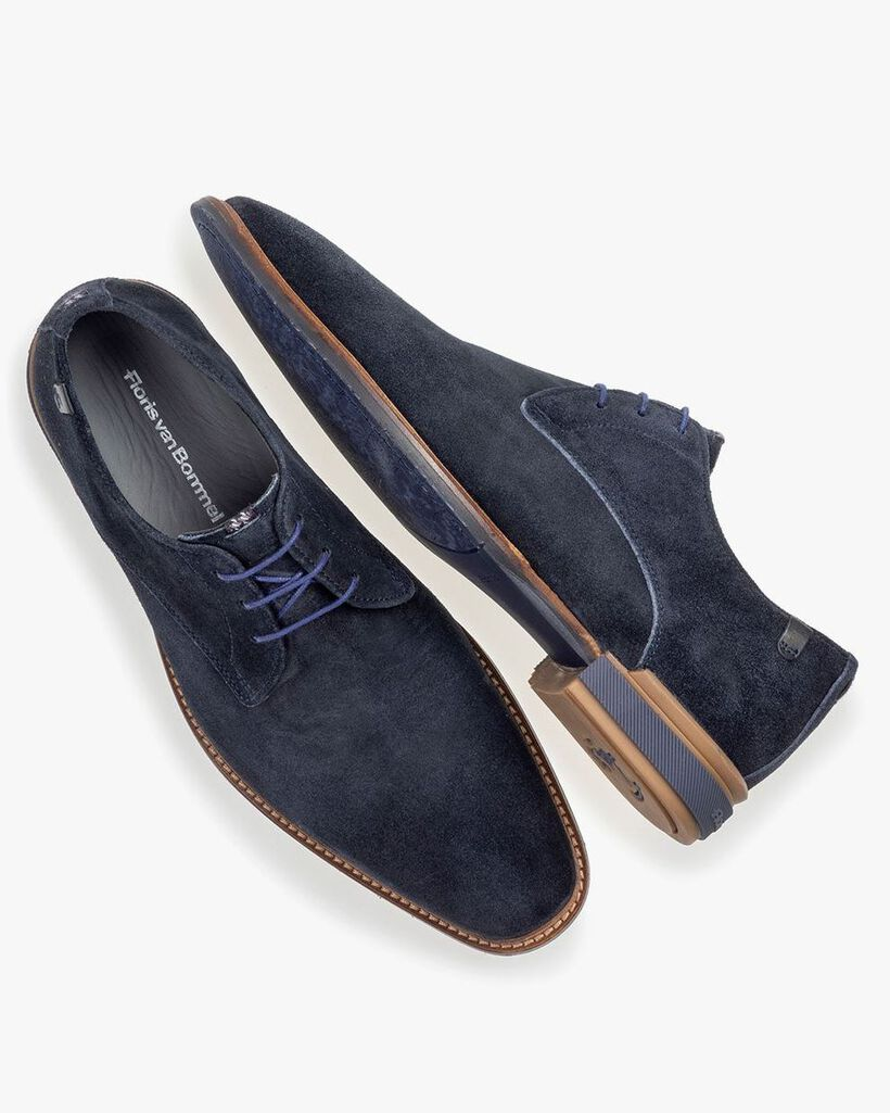 Lace shoe blue suede leather