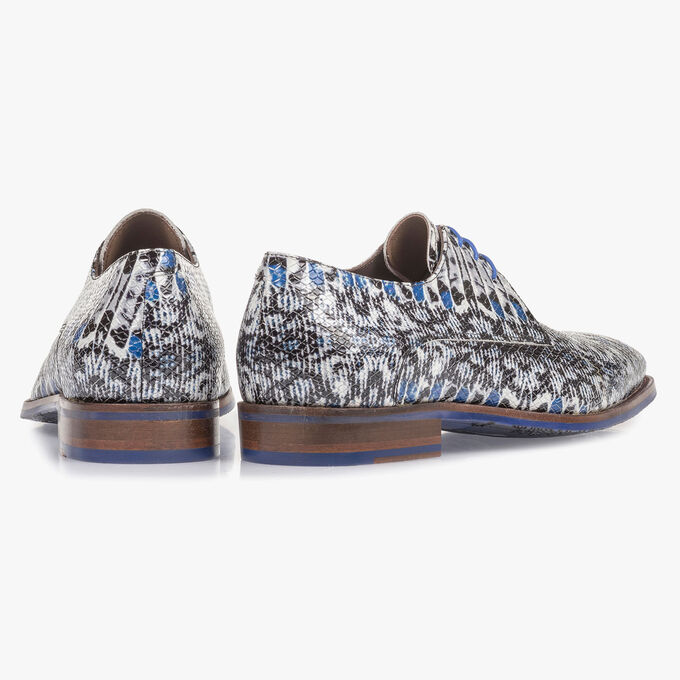 Blue patent leather lace shoe with snake print