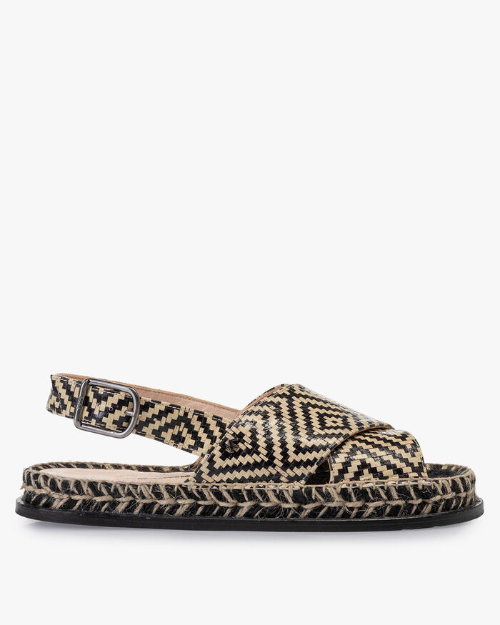 Sandal printed leather black & white