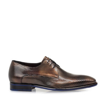 Lace shoe patent leather bronze