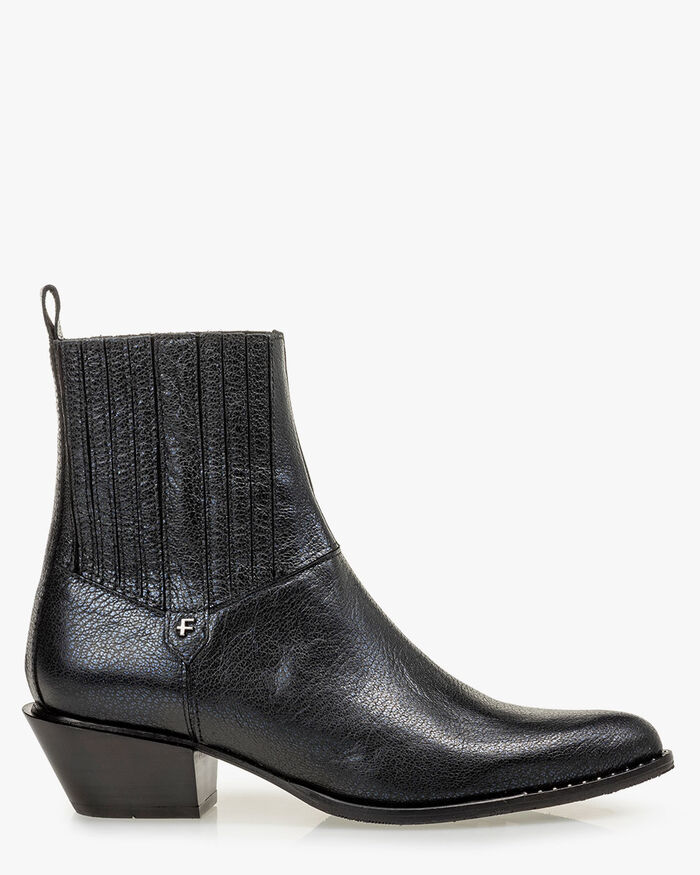 Chelsea boot leather print blue