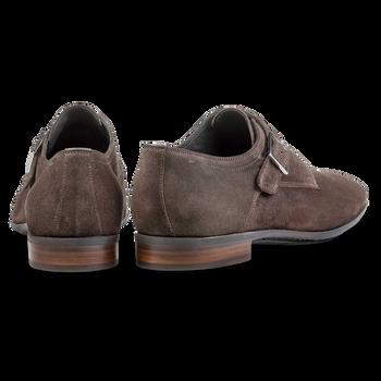 Dark brown waxed suede leather monk strap