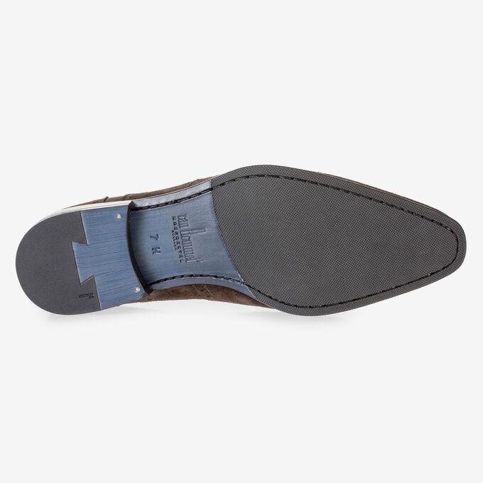 Dark brown suede leather brogue
