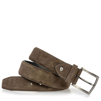 Suede leather belt dark green