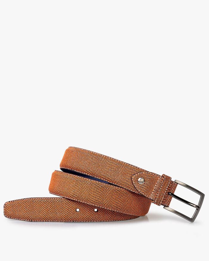 Belt printed suede leather orange