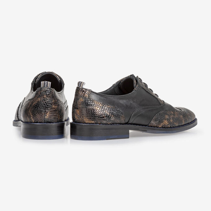Lace shoe croco print copper