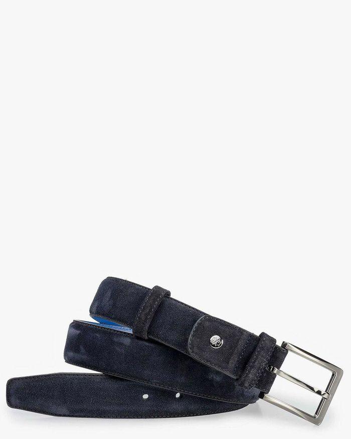 Belt suede leather dark blue