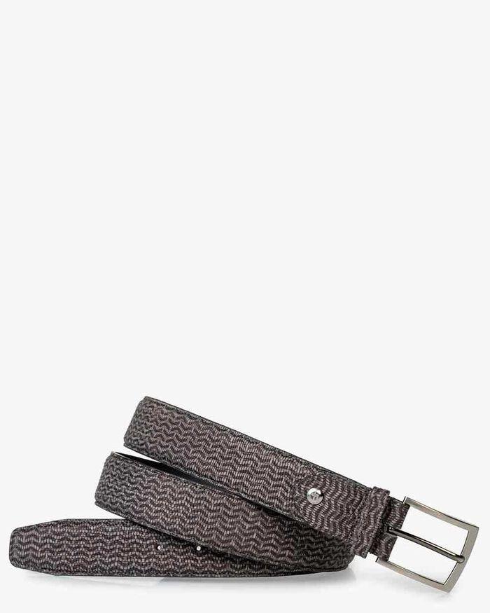Belt printed nbuck leather taupe